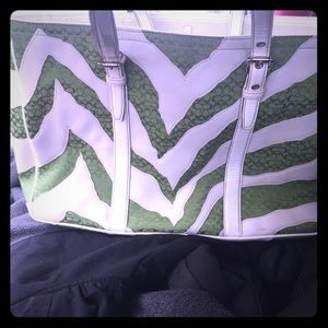 Coach Zebra Gallery Tote in green and white